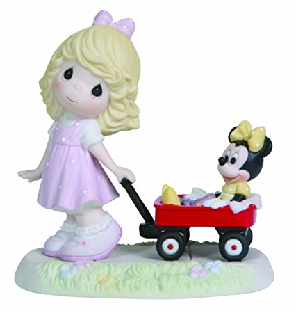 Precious Moments Disney Girl Pulling Minnie in Wagon Figurine