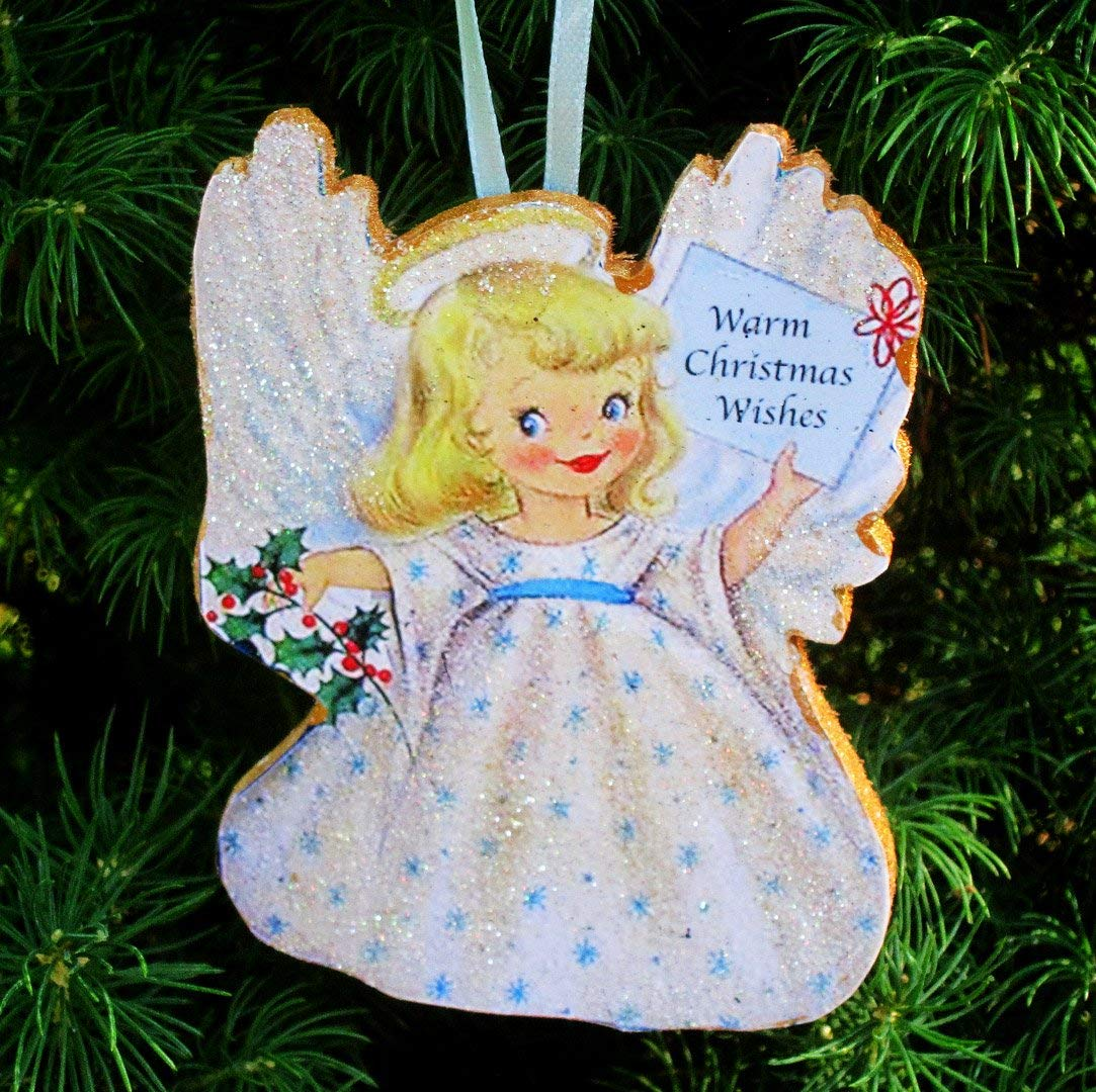 Halo Christmas Ornament.Child Angel Ornament Handcrafted Wooden Christmas Decoration Daughter Granddaughter Gift Halo Angel Wings Pageant Sunday School Grab Bag