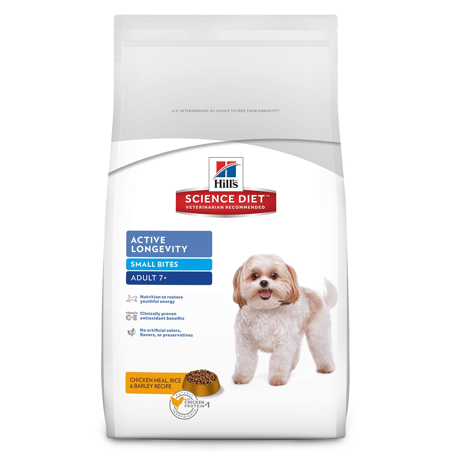 Hill's Science Diet Senior Dog Food, Adult 7+ Active Longevity Small Bites Chicken Meal Rice & Barley Recipe Dry Dog Food, 33 lb Bag