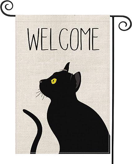 Amazon Com Avoin Black Cat Welcome Garden Flag Vertical Double Sized Pet Lovers Halloween Yard Outdoor Decoration 12 5 X 18 Inch Garden Outdoor