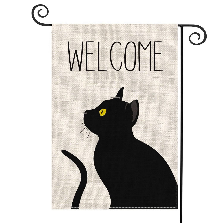AVOIN Black Cat Welcome Garden Flag Vertical Double Sized, Pet Lovers Halloween Burlap Yard Outdoor Decoration 12.5 x 18 Inch