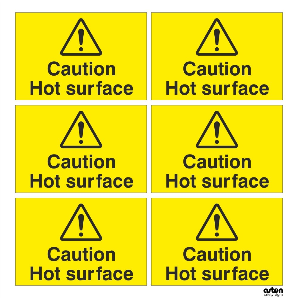 6x Caution Hot surface, safety sign. Set of 6 Self adhesive stickers, each sticker is 75mm x 50mm (Self Adhesive Sticker) Aston Safety Signs