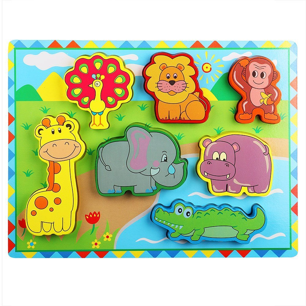 Lewo Wooden Wild Animals Chunky Puzzle for Toddlers Preschool Learning Educational Toys 7 Pcs (Wild Animal) Muwanzi