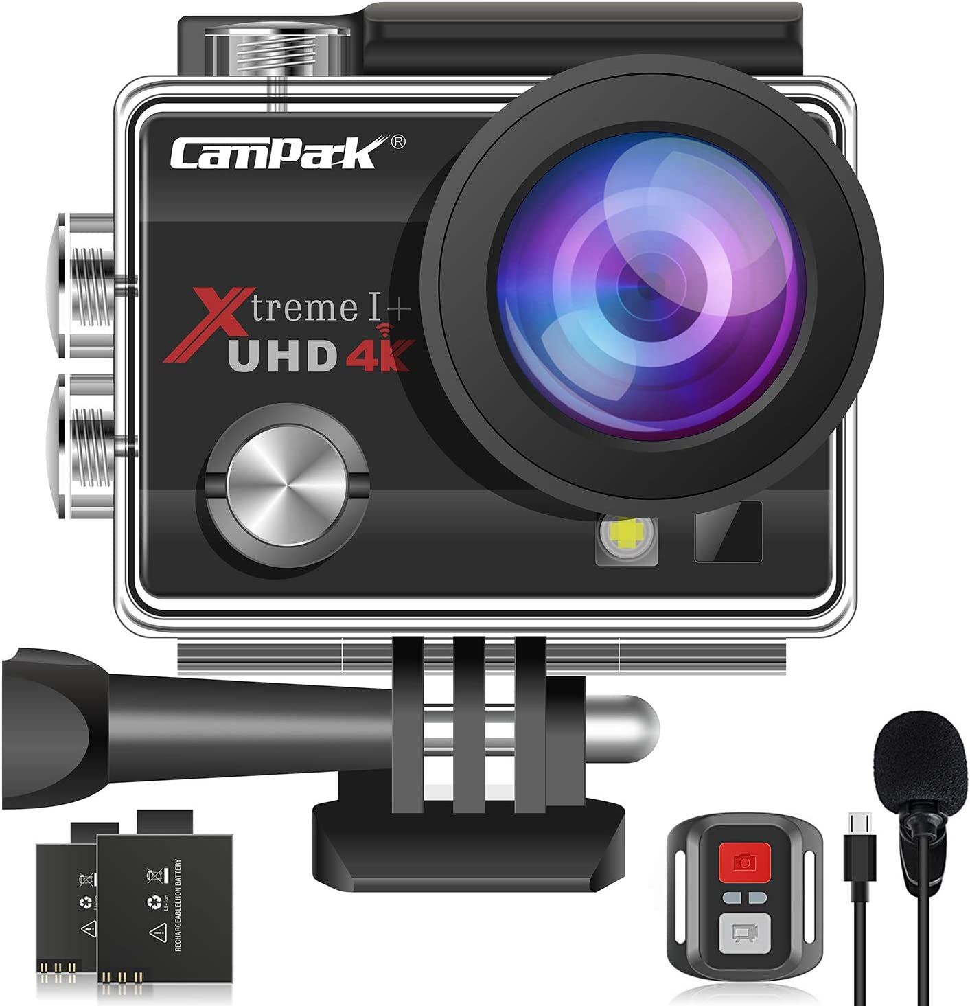 【2020 Upgrade】Campark 4K 20MP Action Camera EIS External Microphone Remote Control WiFi Waterproof Camera with 170° Wide Angle and 2 Batteries : Camera & Photo