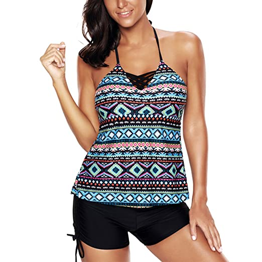 f72a1c538d Image Unavailable. Image not available for. Color: PERSIT Plus Size Tankini  Swimsuit Halter Bathing Suit for Women