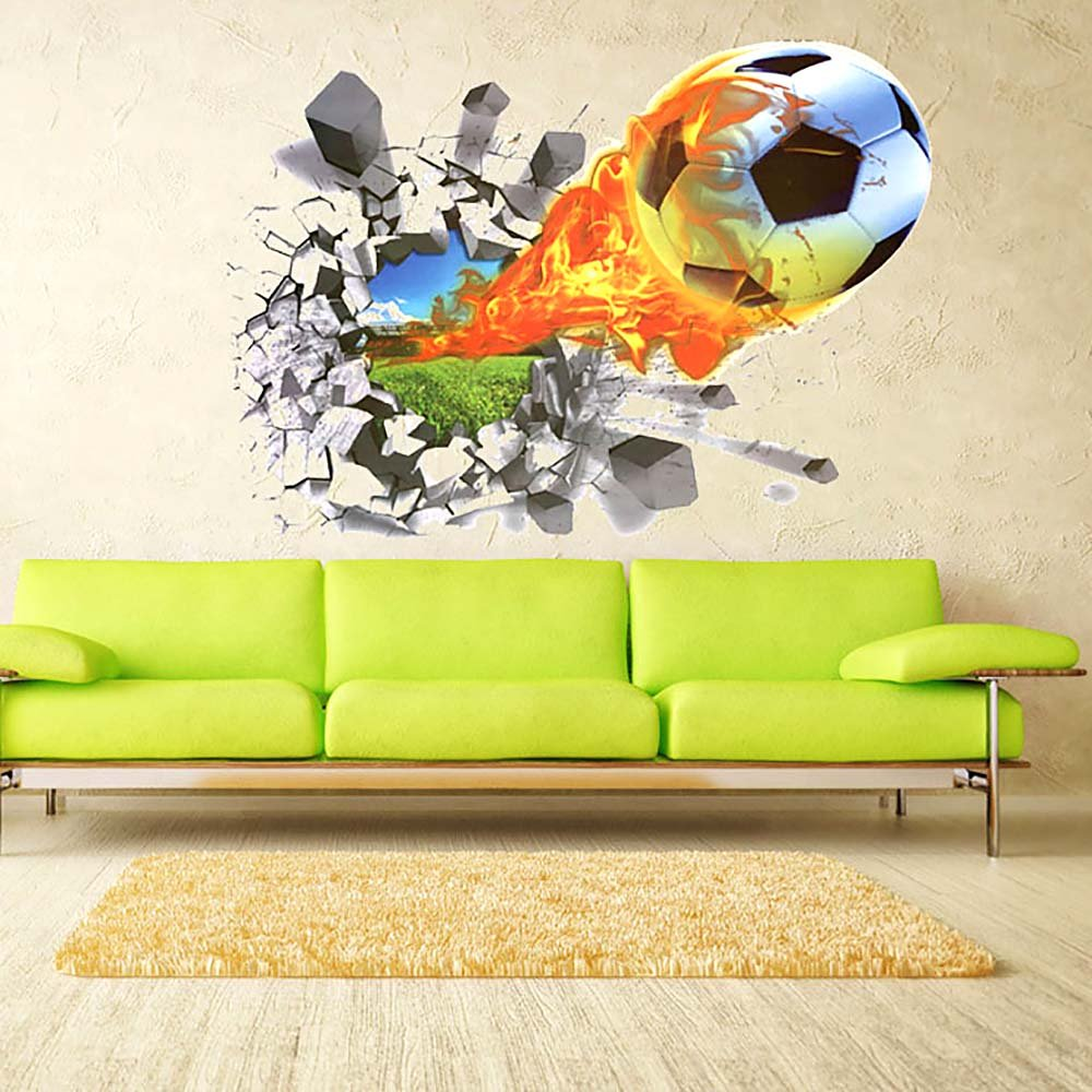 Amazon.com: HuntGold 3D Soccer Ball Football Wall Sticker Decal Kids ...