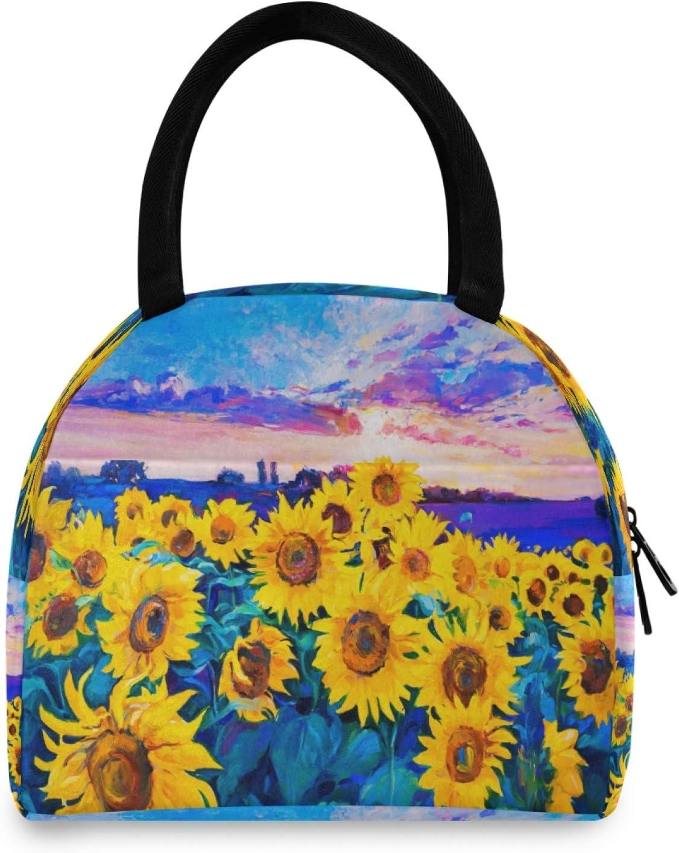 Bolsa de almuerzo BGIFT con diseño floral de girasol para mujer, con aislamiento térmico, para adultos, reutilizable, a prueba de fugas, para hombres, niños, niñas, escuela, trabajo, picnic