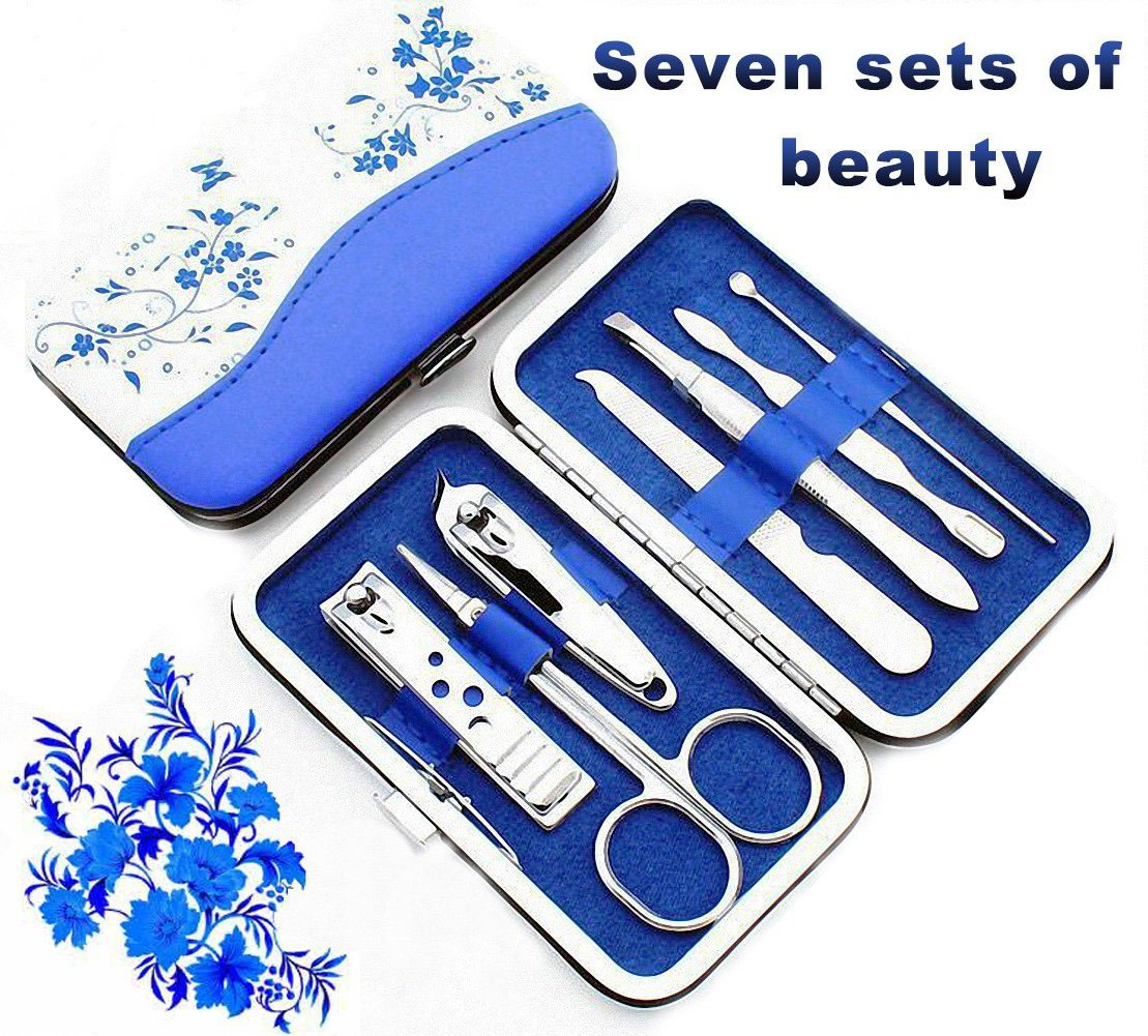 Nail Clipper Travel Set, 7 in 1 Stainless Steel Professional Nail Cutter Manicure Pedicure & Grooming Kits with Leather Case for Man and Women 5AMZ-MJ001-BLU