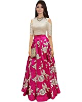 Aarvicouture Womens Pink Tapeta Silk Stitched Long Style Gown For Girls (Aa_1_Cream_Tapeta_Semi Stitched_JFW-125)