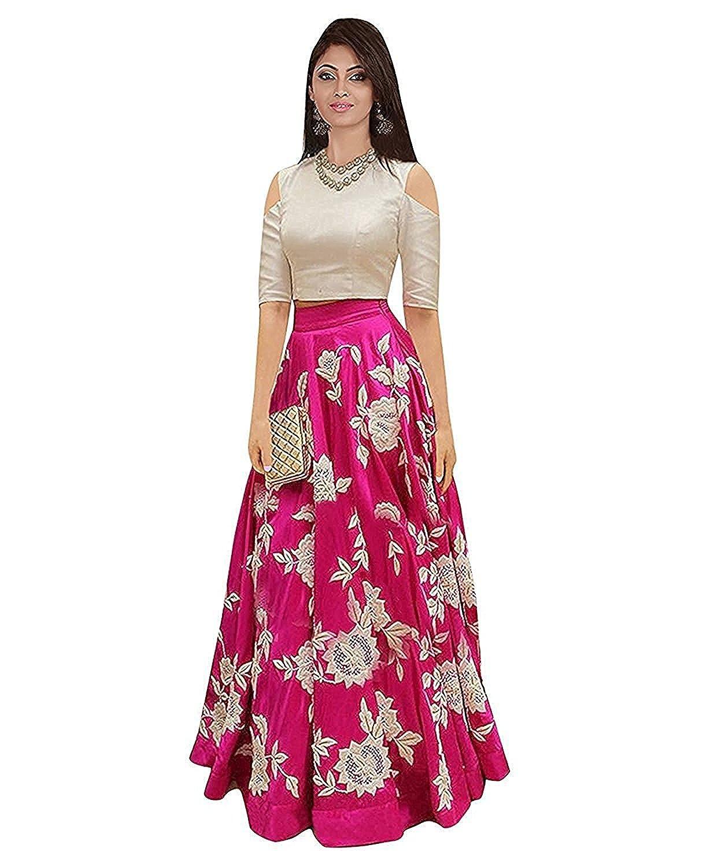 D FASHION GALLERY Women's Tapetta Silk Lengha Choli (Pink, Free Size)
