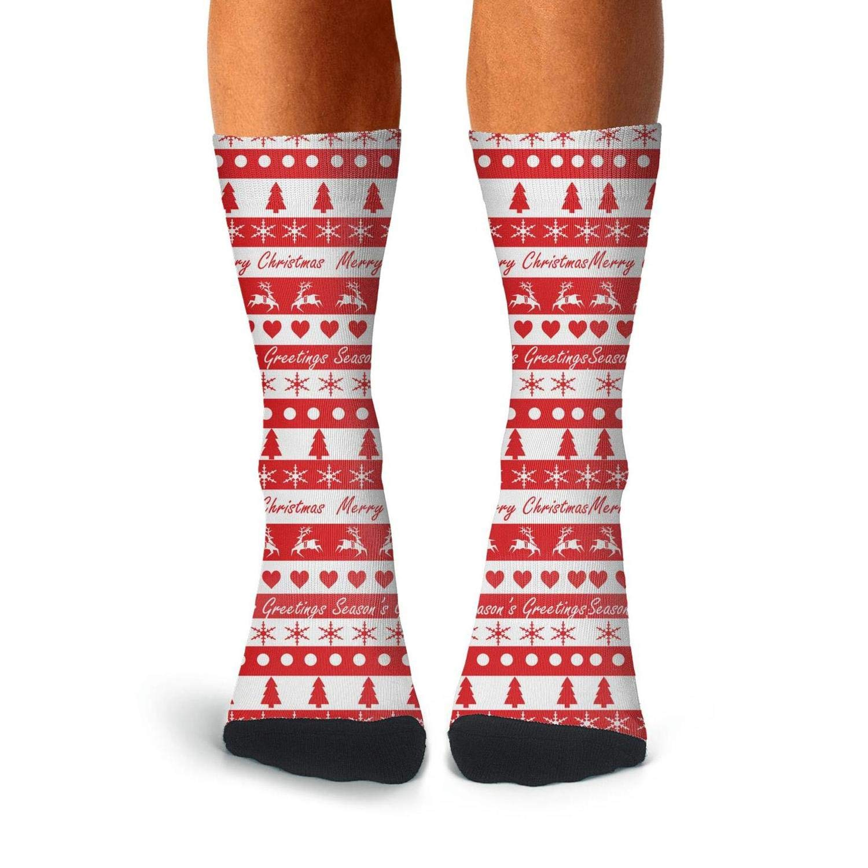 FanYe green Christmas snowman Print Fashion Casual Novelty Crew Socks for Men