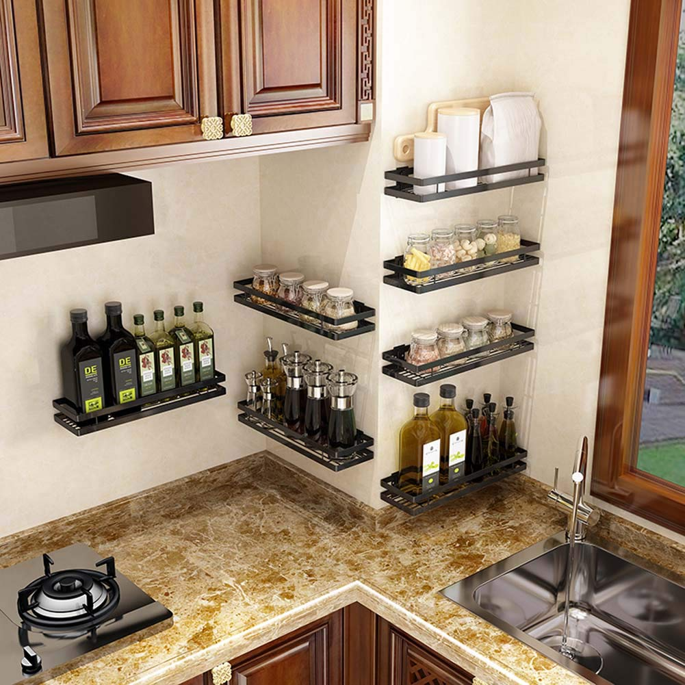 Wall-Mounted Spice Rack Kitchen Counter Storage Rack for Seasoning Cans, Etc,35cm by JXS-dish rack (Image #5)