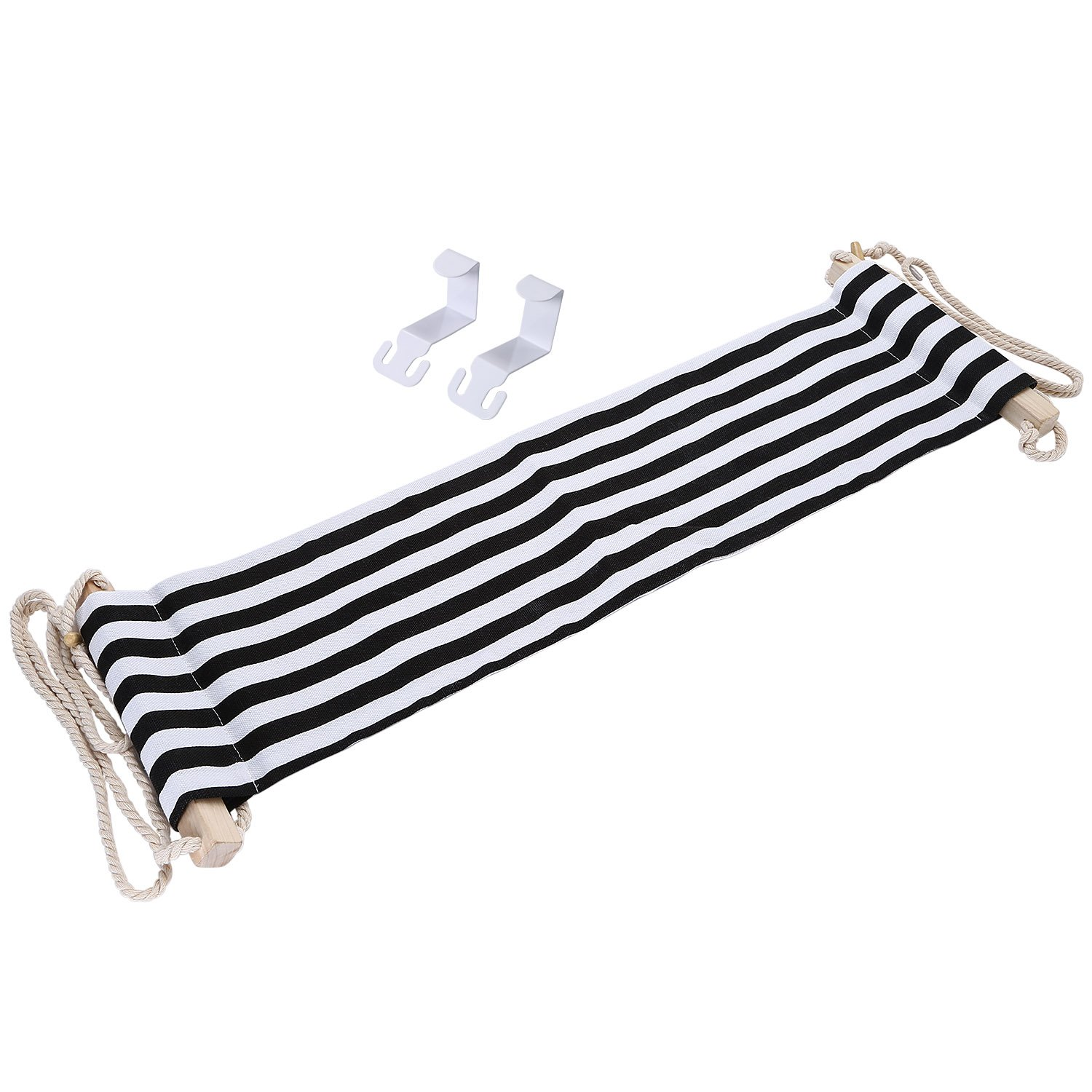 Mini Office Foot Rest Stand, Adjustable Desk Feet Hammock Replace Footstools For Home, Office Study and Relaxing, 1pc/box (Black and White stripes)