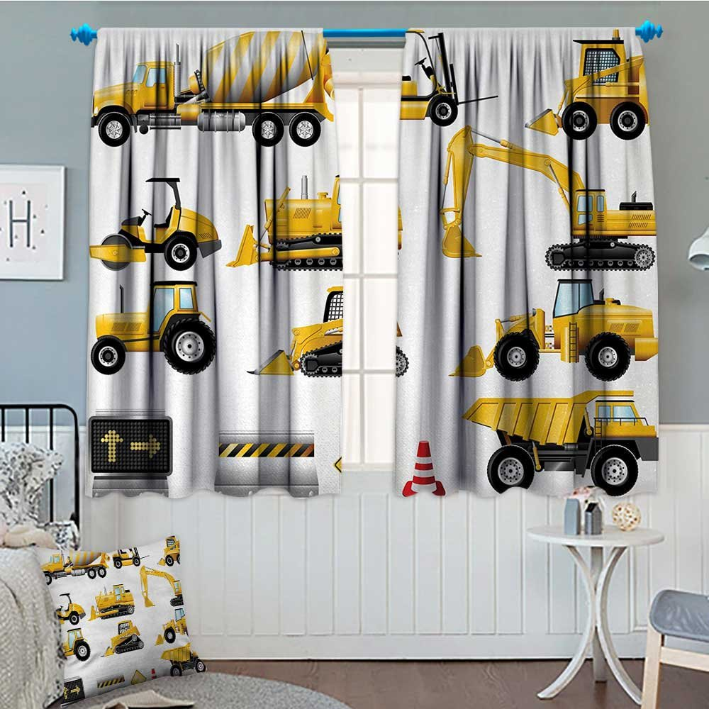 Anniutwo Boys Blackout Window Curtain Yellow Colored Construction Site Machinery and Signs Lined up for Display Customized Curtains 55'' W x 63'' L Earth Yellow Black Red