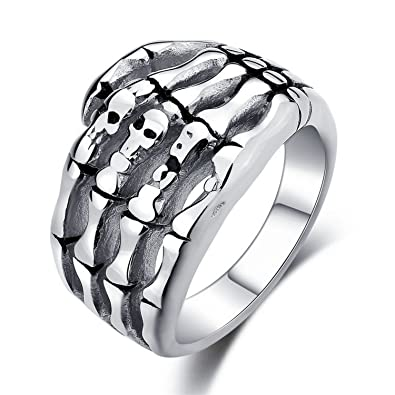 Amazoncom Delatcha Stainless Steel Skull Hand Punk Mans Ring For