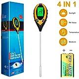 Zhichengbosi - Comprobador de suelo, 4 en 1, kit de prueba de suelo, medidor de temperatura de humedad del pH del suelo, herramientas de jardinería para el hogar, jardín, césped