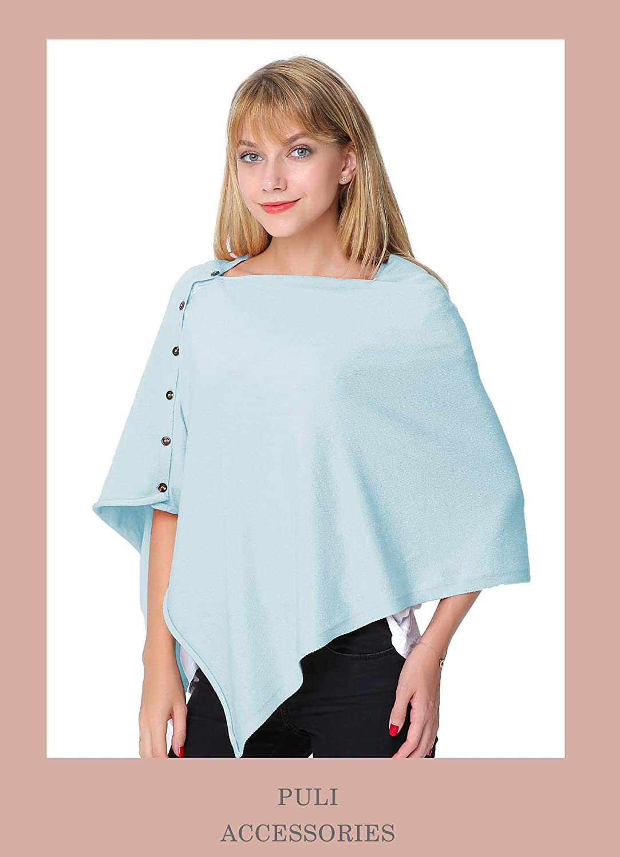 PULI Women Button Knitted Shawl Poncho Blanket Cape Cardigan Wrap Scarf One Size