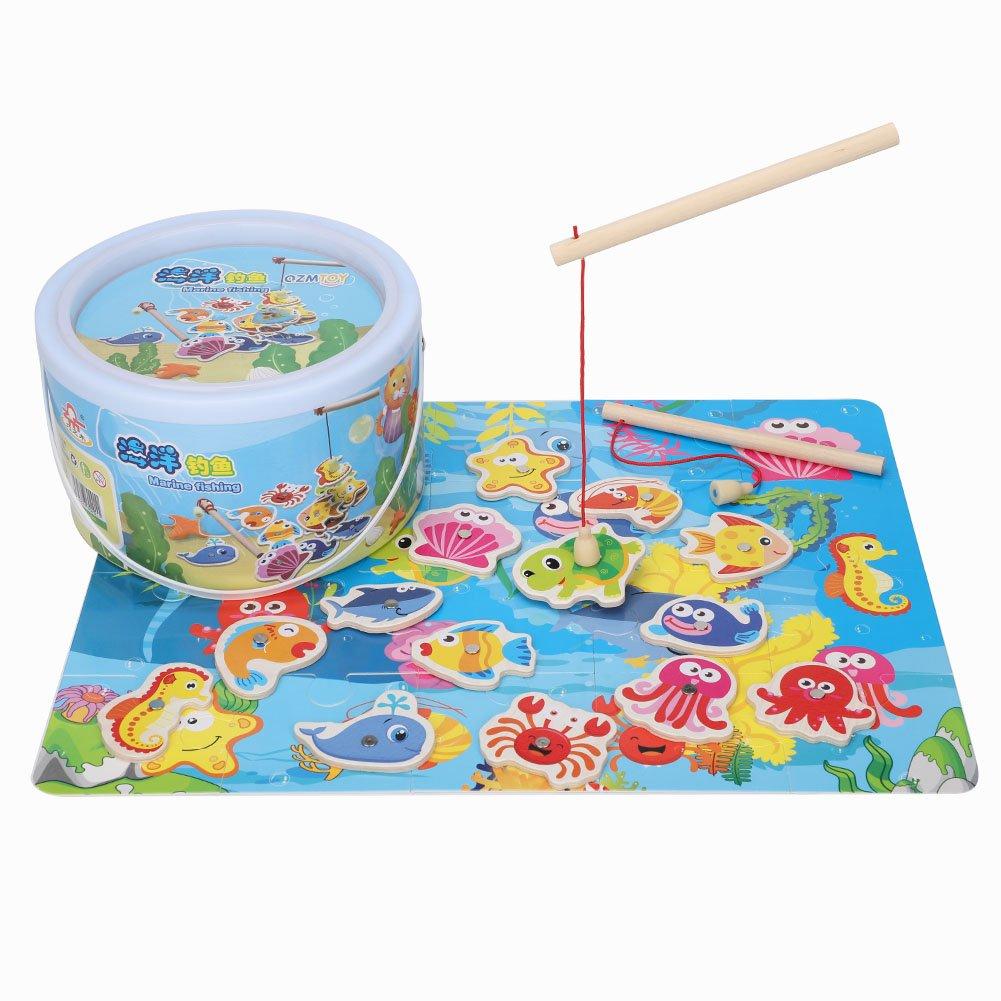 Fdit Magnetisches hö lzernes Fischen Spiel und Puzzlespiel mit Ozean Tier Magneten Kinder Scherzt Spielwaren