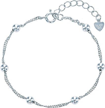 Double Chain Satellite Pendant Bracelet Silver Chain /& Charm Bracelet