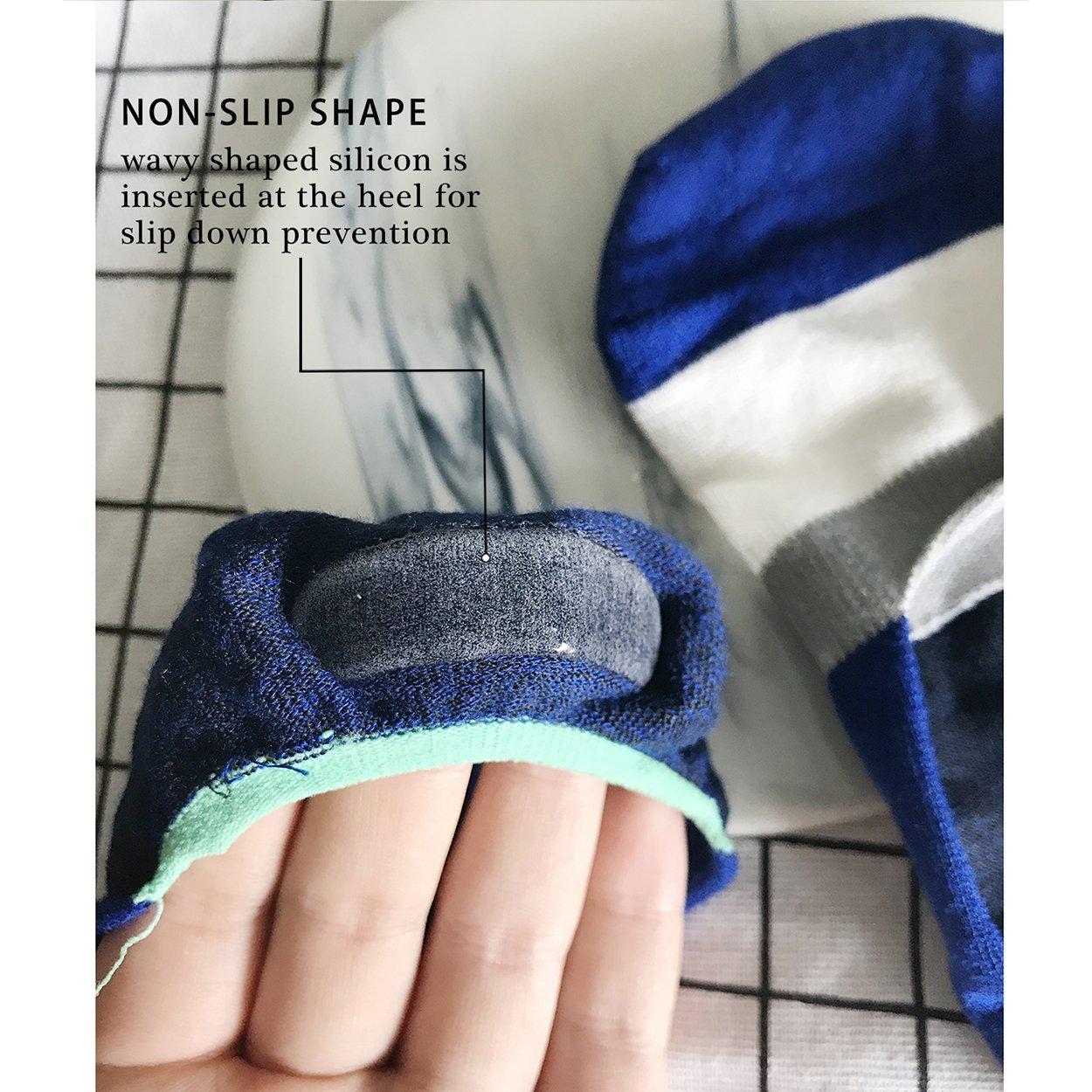 Mens 6 Pairs No Show Socks Cotton Non Slip Low Cut Invisible Socks Mesh Knit Black Green at Amazon Mens Clothing store: