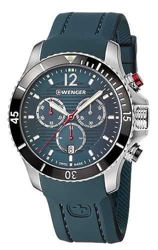 WENGER Reloj Analógico para Hombre de Cuarzo con Correa en Silicona 01.0643.114: Amazon.es: Relojes