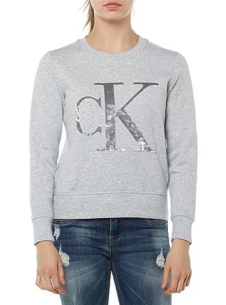 Calvin Klein Jeans Honor Velvet Cn Hwk L/S-sudadera Mujer gris M: Amazon.es: Ropa y accesorios