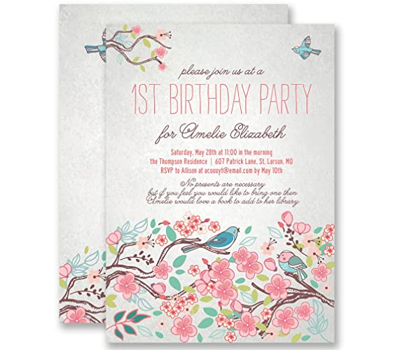 Amazon first birthday invitations 1st pink blue birdie cute first birthday invitations 1st pink blue birdie cute shabby chic personalized boutique invites with envelopes filmwisefo