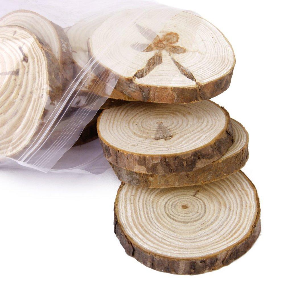 ROSENICE Rodajas de madera 6-8cm Sin acabados discos de maderas para Bricolaje manualidades boda centros de mesa 30pcs