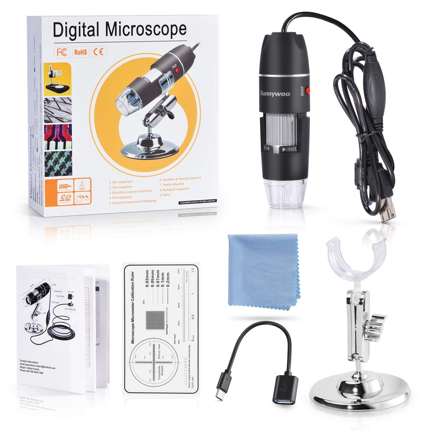 USB Microscope,1000x Zoom 1080p Digital Mini Microscope Camera with OTG Adapter and Adjustable Stand, Compatible for Android,Mac,Window,Linux by DigiHero (Image #6)