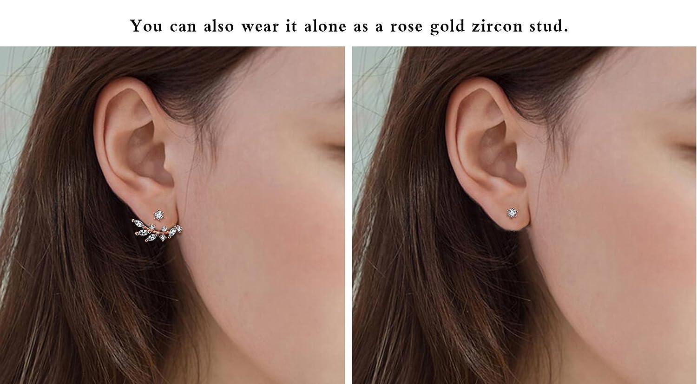Elensan Rose Gold Leaf with Cz Crystal Ear Cuff Earrings Jacket for Woman Girls GvYrwM