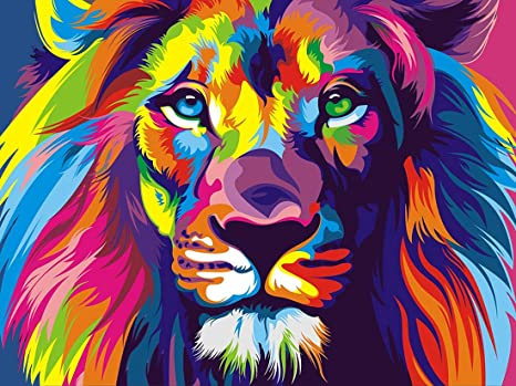 DIY Leo Rhinestone Pasted Paint with Diamond Arts Set Craft Home Decoration 12x16inch Yomiie 5D Diamond Painting Lion Full Drill by Number Kits for Adults Kids
