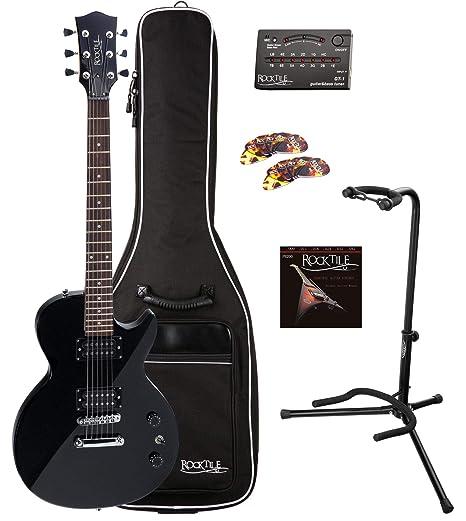 Rocktile Guitarra eléctrica LP-100 BL (con funda, afinador, soporte, juego