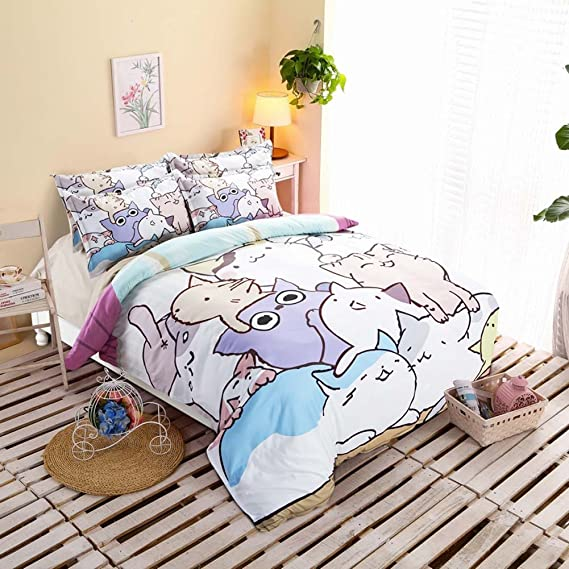 Amazon.com: HIGOGOGO Home Textiles 100% Cotton Cute Cat Bedding Set Sheet set Cartoon Duvet Cover Set Super Soft Twin Full Queen Size 3 Piece Duvet Cover ...