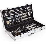 TecTake Posate per barbecue BBQ, accessori per barbecue inox con valigetta - varios modelos - (18-piezas | No. 400840)
