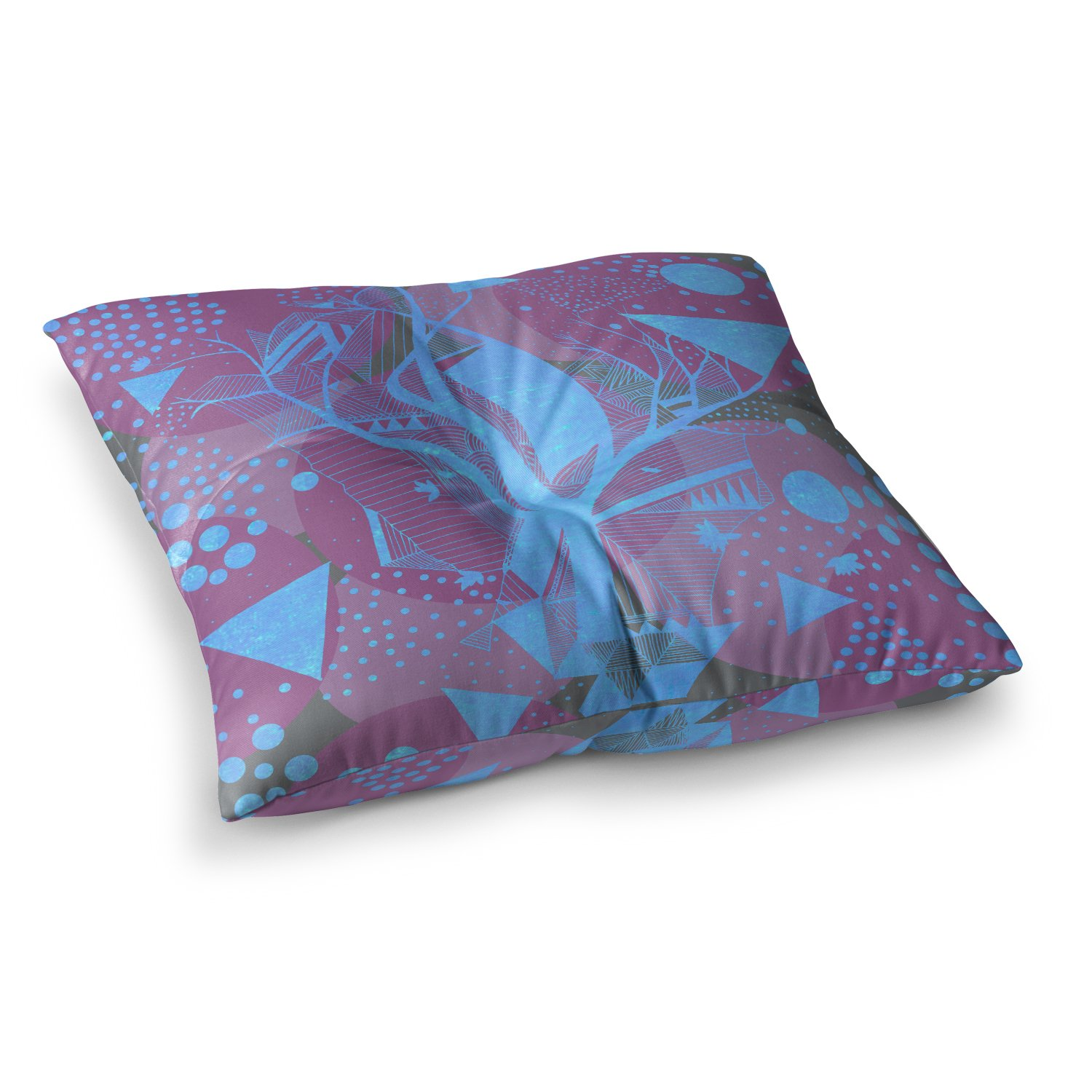 23 x 23 Square Floor Pillow Kess InHouse Marianna Tankelevich Dancing Shapes Purple Blue
