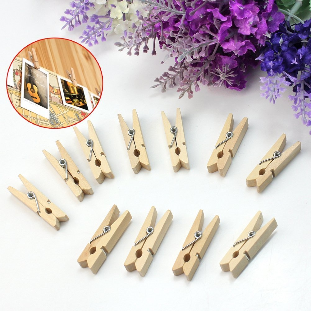 Hosaire 50pcs Mini Colored Wooden Clothes Photo Paper Peg Clothespin Craft Spring Clips 3.5cm