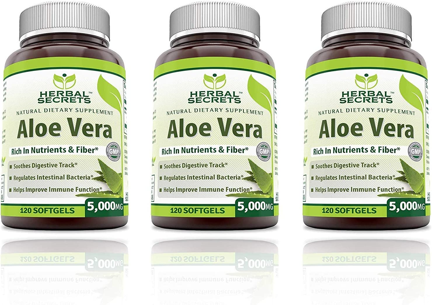 Herbal Secrets Aloe Vera Natural Dietary Supplements, 120 Softgels, 5000 Mg Pack of 3