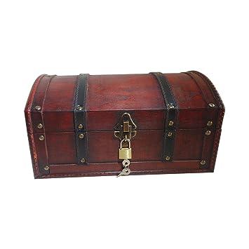 taille 40 dadf3 6592f Infinimo coffre au trésor - coffre en bois, boîte pirate, boîte cadeau  munie d'un coffre à clé, 30x20x15cm grand coffre au trésor