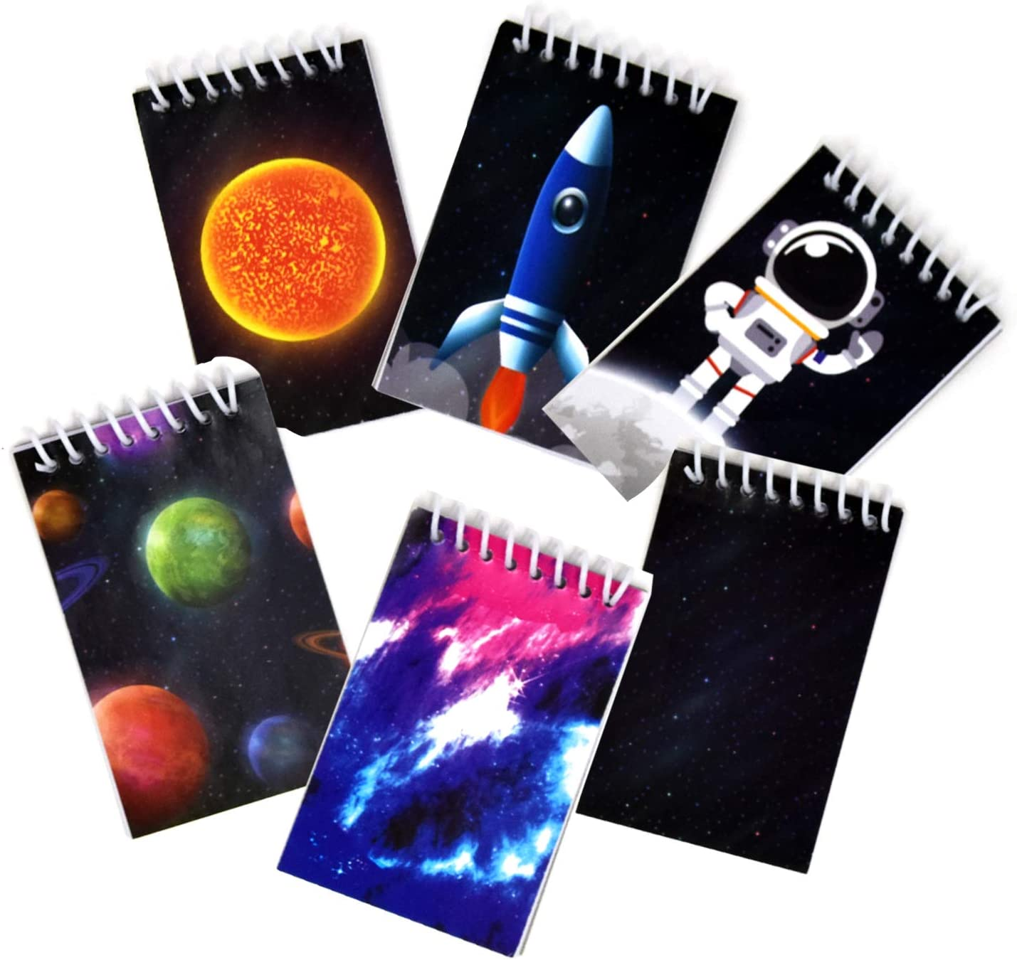 48 Count Outer Space Galaxy Mini Notepads Science Moon Rocket Ship Theme Memo Spiral Notebooks for Kids Boys Girls Solar System Planet Notepads Birthday Party Favor Supplies & Teacher Classroom Reward