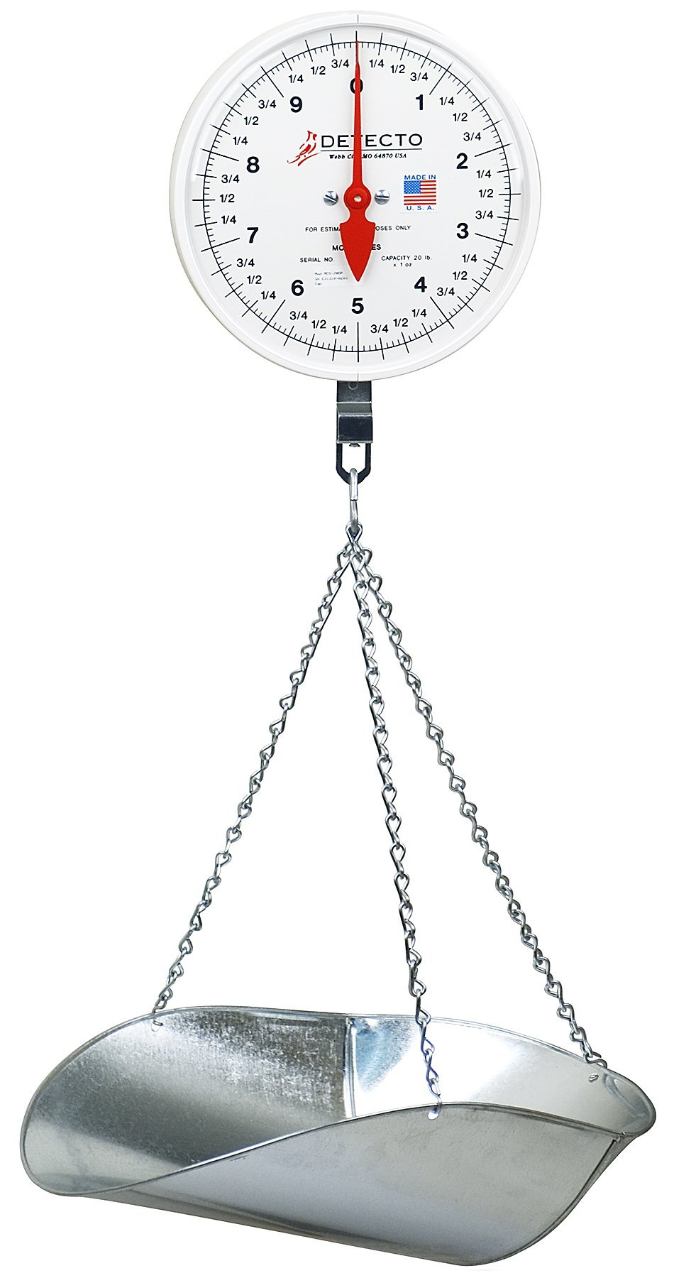Detecto MCS-20DP Hanging Dial Scale, 20 lb. Capacity, Scoop, Double Dial by Detecto