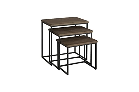 Martin Svensson Home 890554 Rustic Collection Solid Wood Metal 3 Piece Nesting Table, Reclaimed Natural