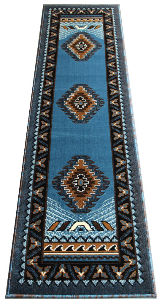 native american runner area rug design kingdom d 143 blue brown 2 feet x 7 feet ebay. Black Bedroom Furniture Sets. Home Design Ideas