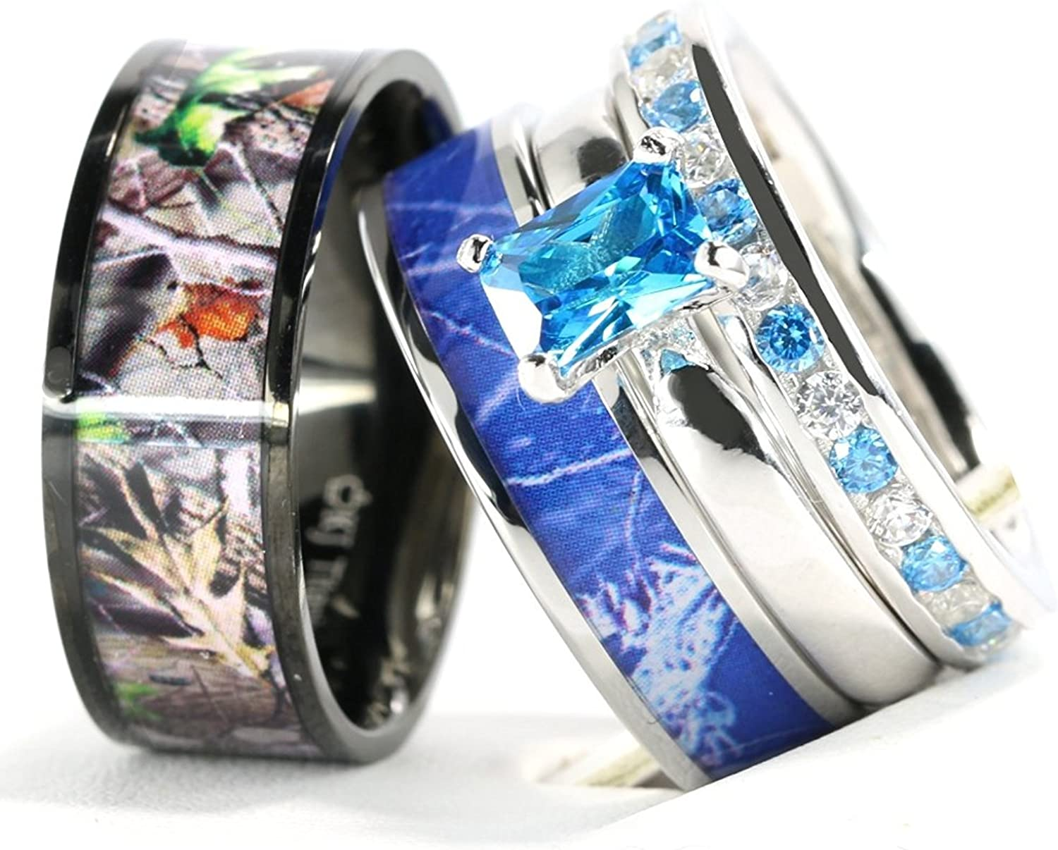 Kingsway Jewelry 4pcs His Hers Camo Blue Radiant Stainless Steel Sterling Silver Wedding Ring Set