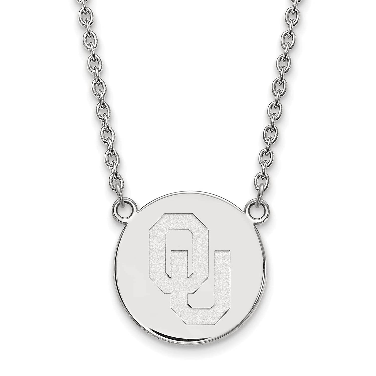 925 Sterling Silver Rhodium-plated Laser-cut University of Oklahoma Large Disc Pendant w//Necklace 18