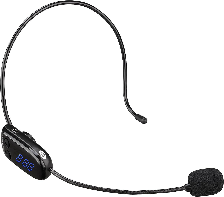 Hands-free Wireless FM Condenser Microphone Headset Megaphone ...