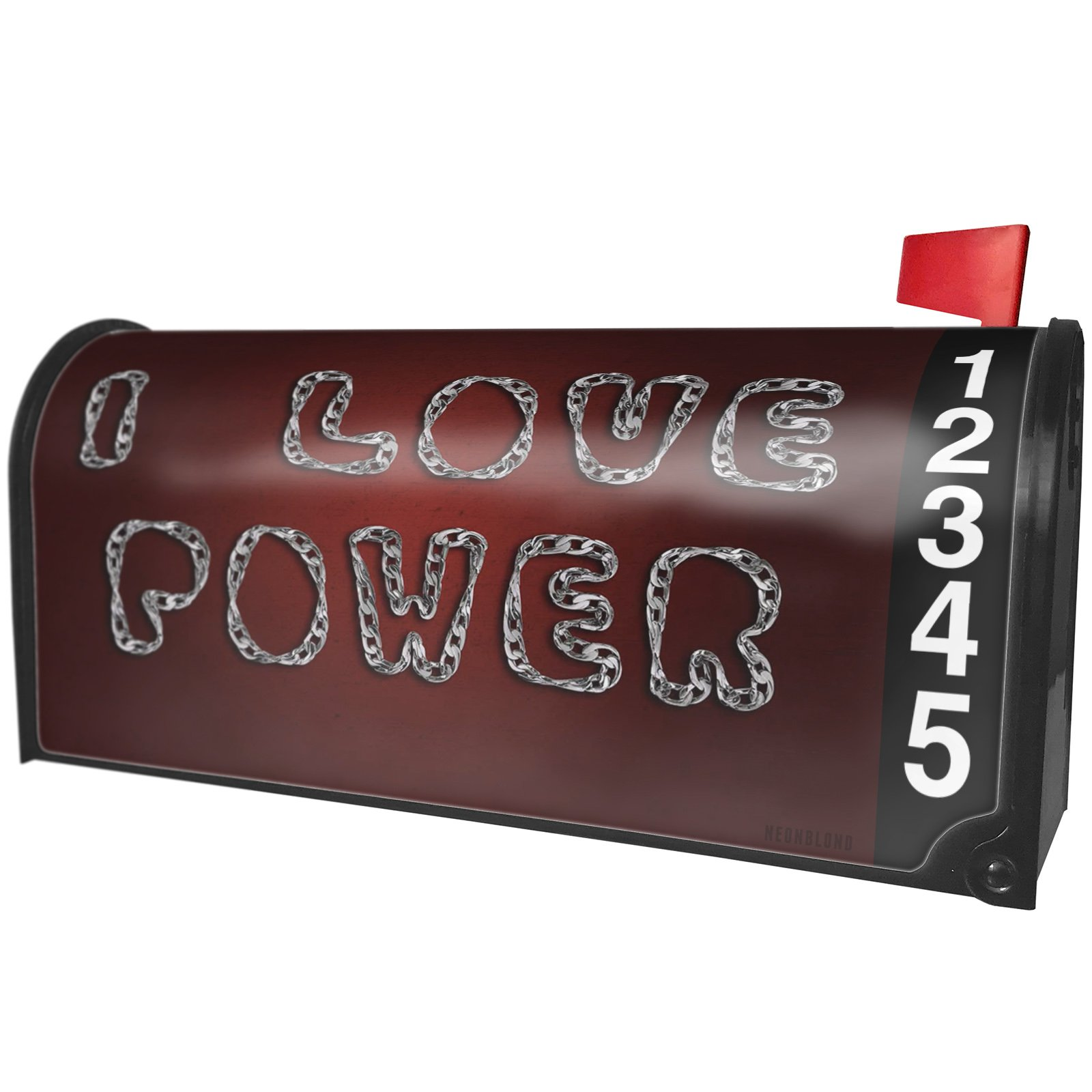 NEONBLOND I Love Power Silver Chain Lettering Magnetic Mailbox Cover Custom Numbers