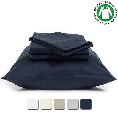 BIOWEAVES 100% Organic Cotton 4 Piece Bed Sheet Set, 300 Thread Count Soft Sateen Weave GOTS Certified with deep Pockets (Full, Navy Blue)