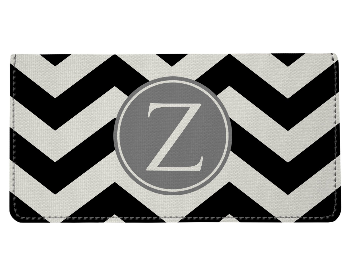 Personalized Monogram Black Grey Chevron Checkbook Cover 011-000D0034-monochevblkA
