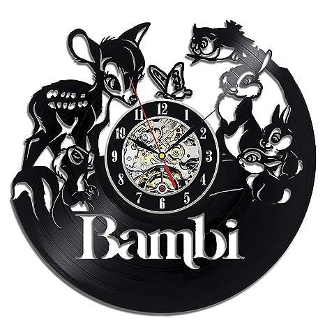 Bonito Bambi Reloj de pared, creativo vinilo de placas de diseño, decorar tu casa con moderna ...