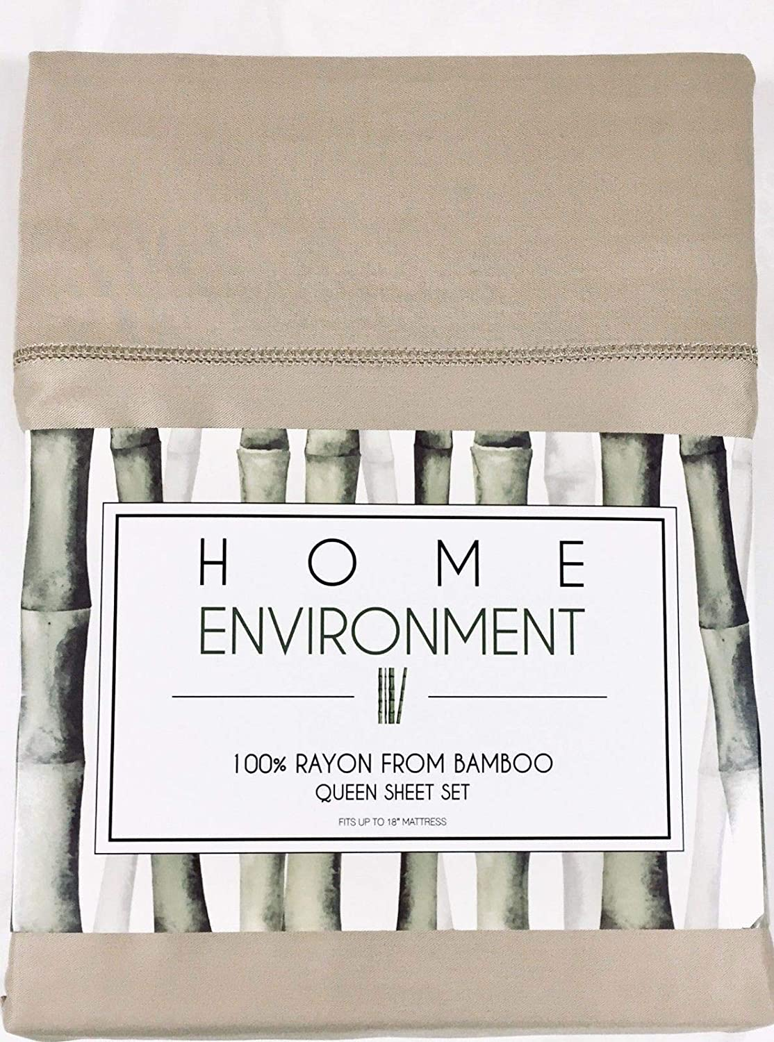 Home Environment Beige Queen Sheet Set 100% Rayon from Bamboo - Antibacterial Eco-Friendly